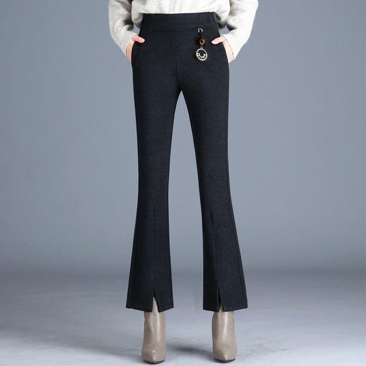 品牌折扣女装新款毛尼喇叭裤女新款韩版时尚修身显瘦微喇长裤子百搭靴裤休闲裤