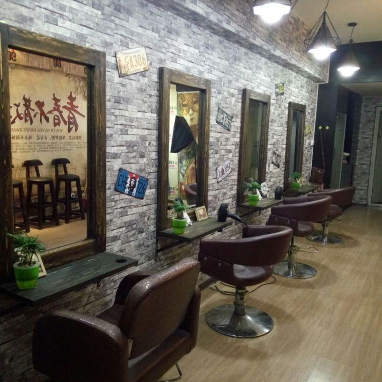 创意复古实木理发店美发镜台 定制化妆镜子美式单面镜子壁挂镜