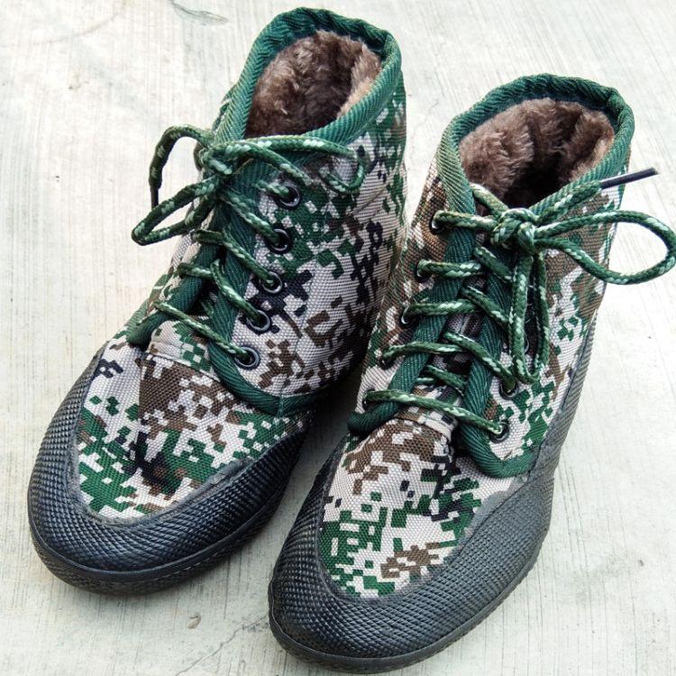 秋冬季保暖迷彩劳保鞋 高帮防滑工作鞋加棉保暖加绒