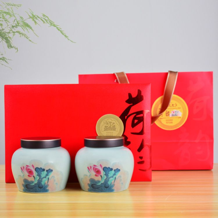 忠艺信送礼 茶叶礼品盒 陶瓷茶叶罐 一斤装红茶绿茶白菜 普洱散茶 通用可定制 茶具配件