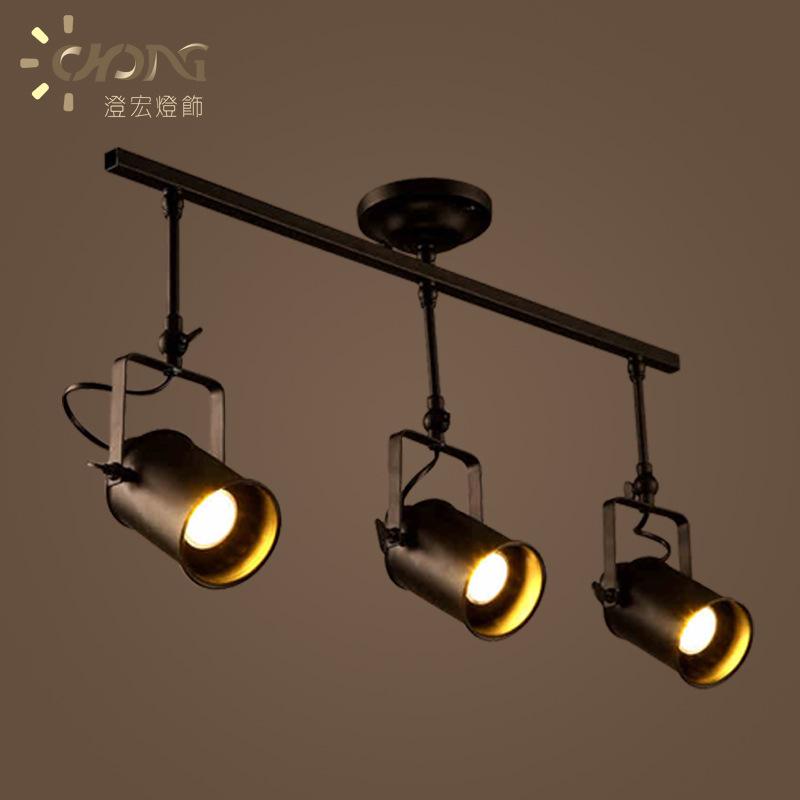美式轨道灯工业创意艺术吊灯客厅吧台服装店个性LED长杆射灯