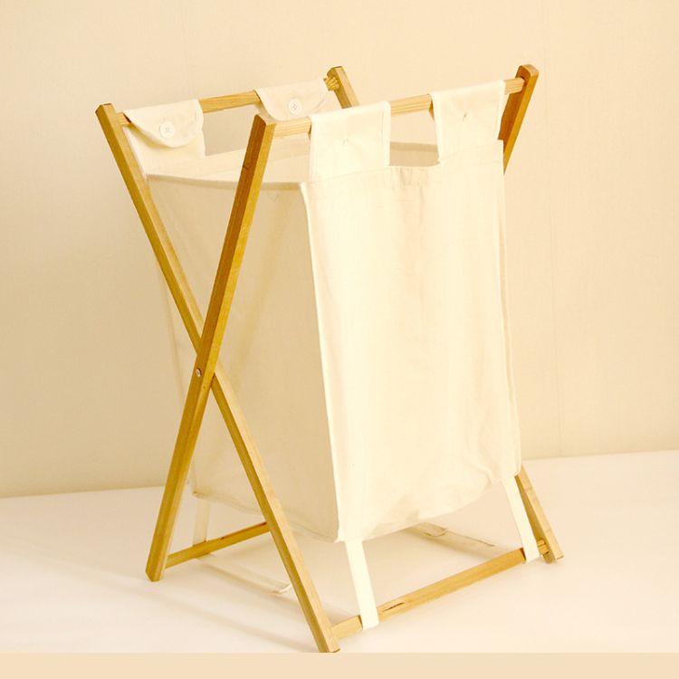 家居用品整理箱 涤棉脏衣服收纳筐木架杂物篮 布艺折叠收纳篮