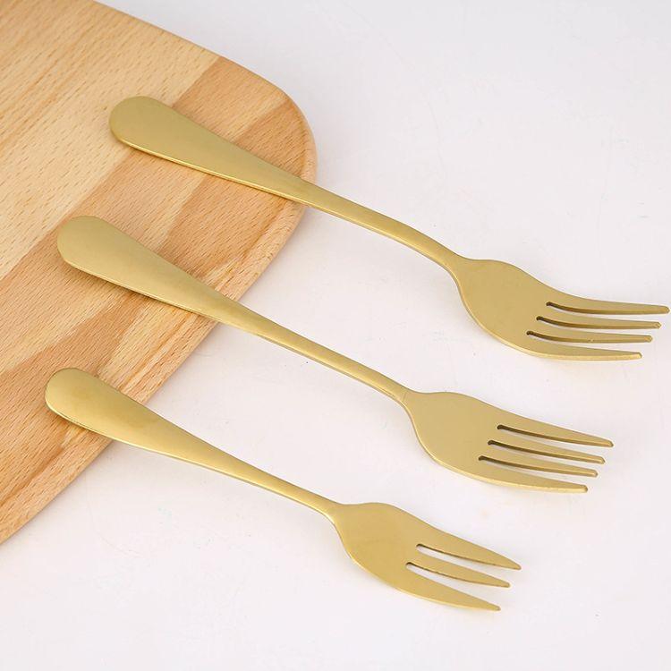 1010系列不锈钢叉子镀钛三齿金色叉子西餐饭店水果甜点月饼蛋糕叉