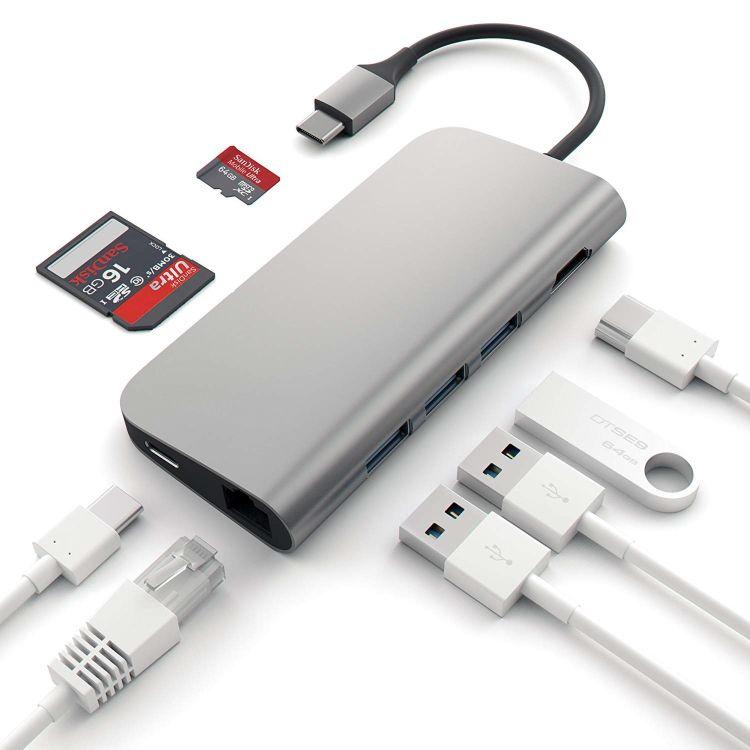 新款type-c hub转3口USB3.0 RJ45千兆网口HDMI 4K TF/SD卡 PD充电