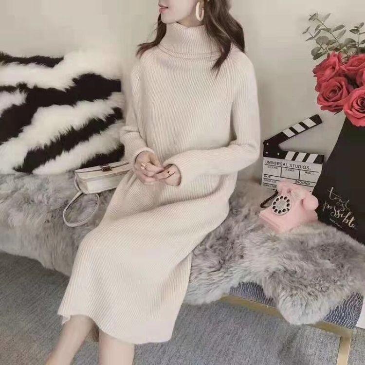 高领羊毛针织套头长款加厚毛衣