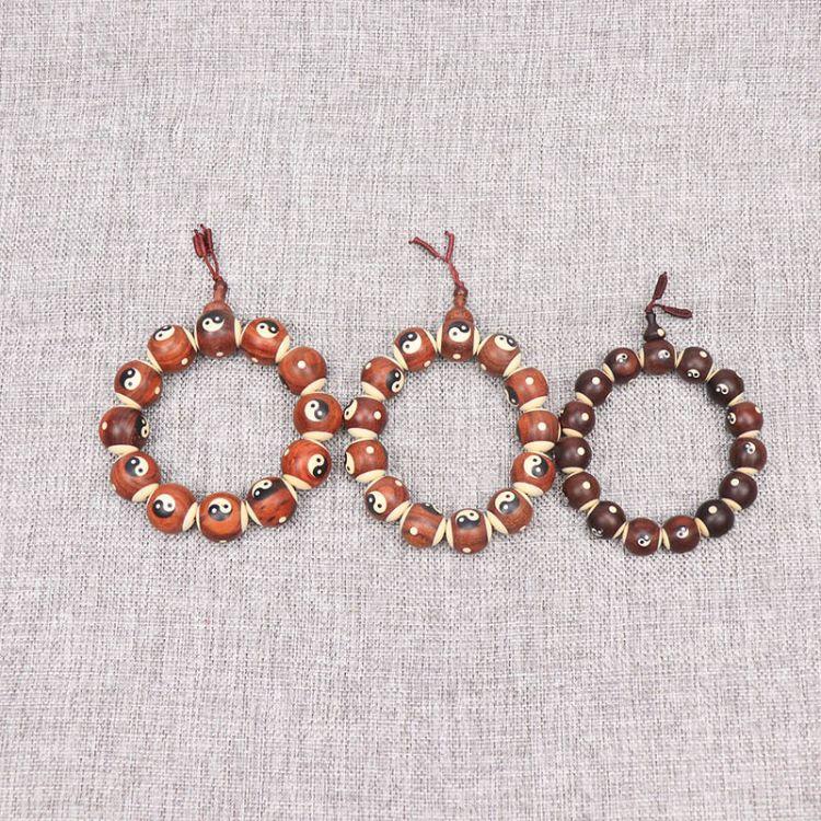 赞比亚血檀木雕太极八卦佛珠手串旅游工艺品木质阴阳鱼念珠手链
