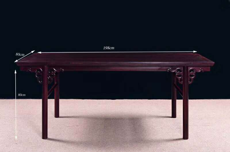 赞比亚血檀中式画案原木仿古办公桌家用书法桌书房写字台两件套