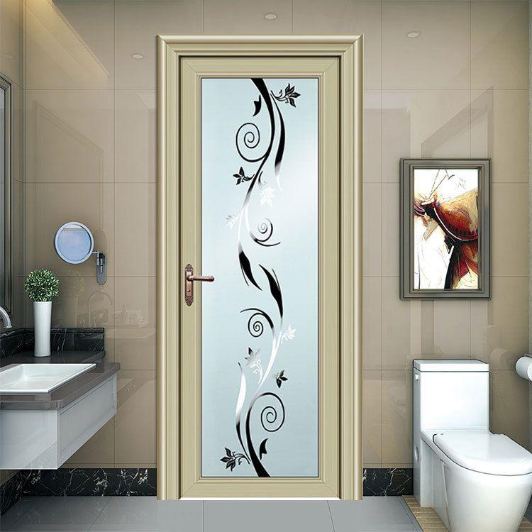附近铝合金门窗厂定制 整套隔音卫生间门 香槟色1.0厚平框铝平开门