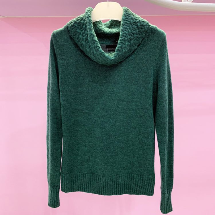 档口实拍冬季新款打底羊毛衫高领长袖套头上衣纯色外贸亚马逊欧美
