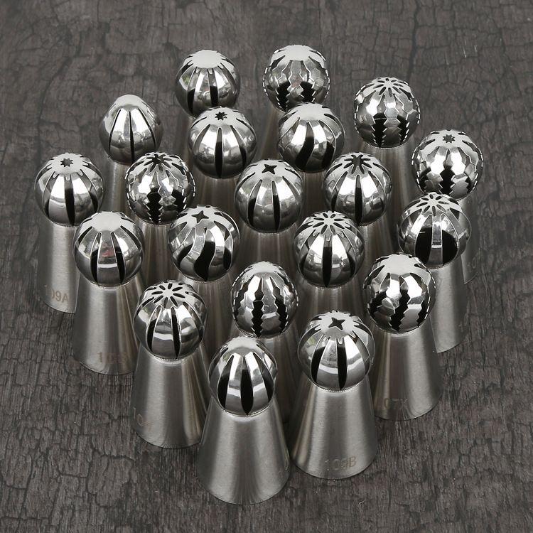 厂家直销20件圆头无缝俄罗斯奶油蛋糕火炬不锈钢裱花嘴烘焙工具