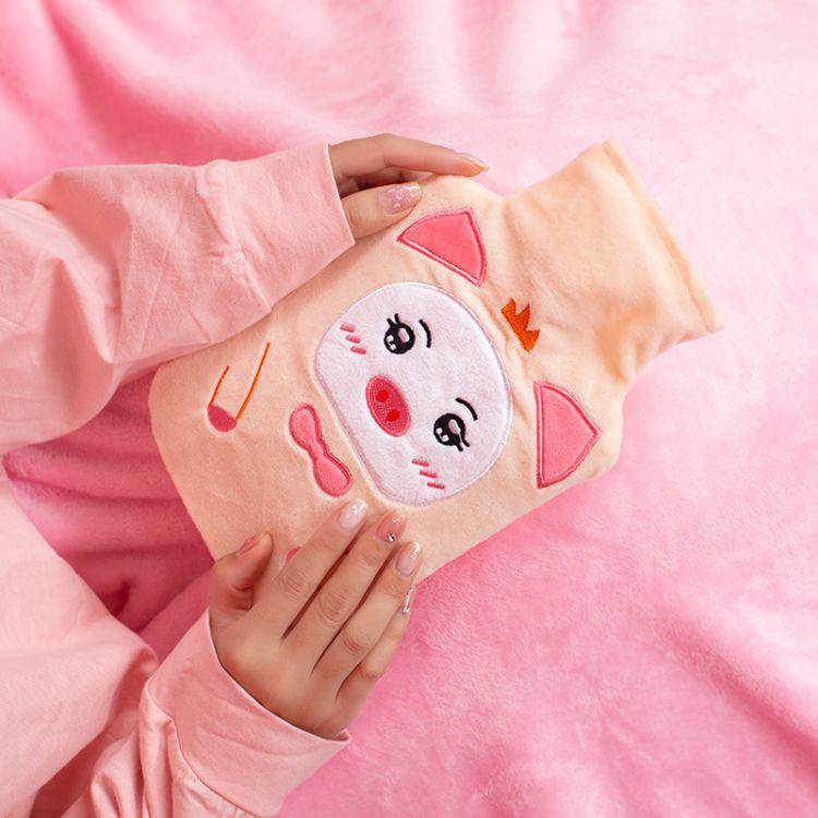 可爱卡通韩版热水袋注水大小号暖水袋暖手宝防爆毛绒充水批发女