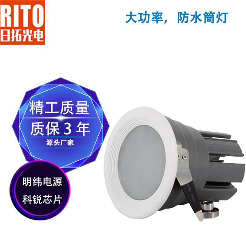 50W30W户外防水筒灯led筒灯暗装雨棚灯户外照明防眩光定制厂家