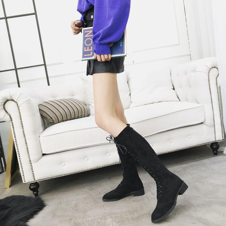 2019秋冬新款系带长靴  黑色显瘦高筒靴系带女靴粗跟   厂家直销