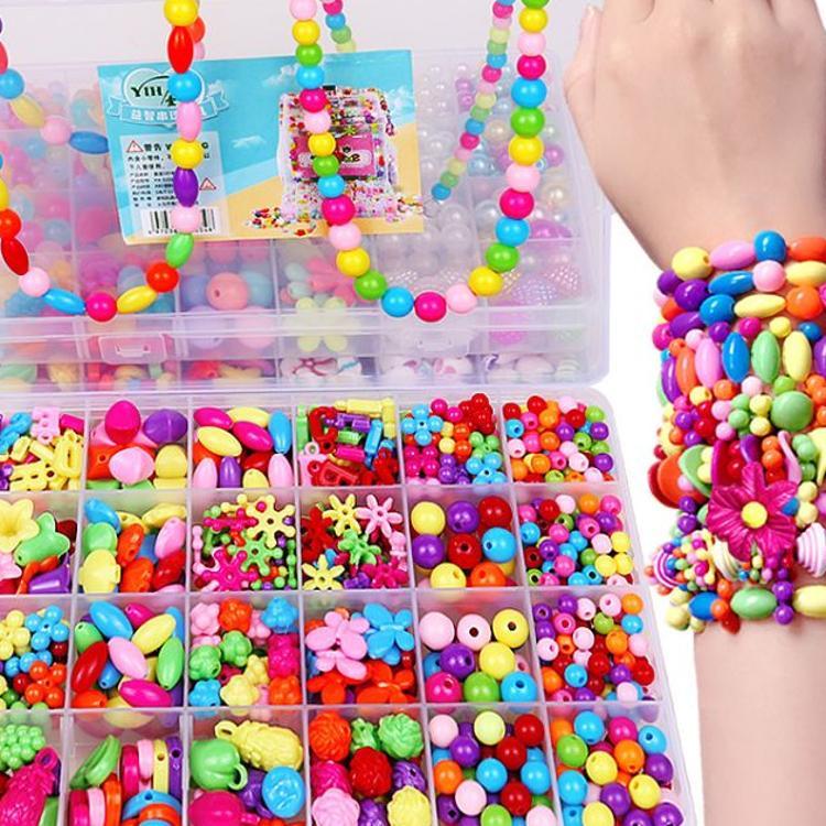 24格儿童串珠玩具女孩穿珠子手链项链小礼物宝宝diy益智手工制作