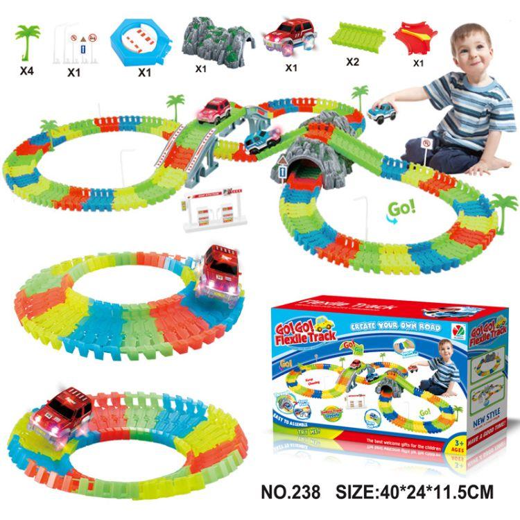 儿童夜光轨道车玩具 DIY拼装益智积木假山加小车配件 跨境玩具