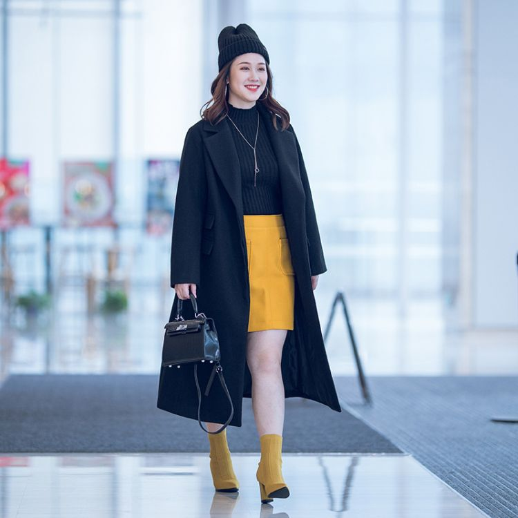 大码女200斤胖MM冬季新款风衣韩版中长款毛呢大衣西装领上衣外套