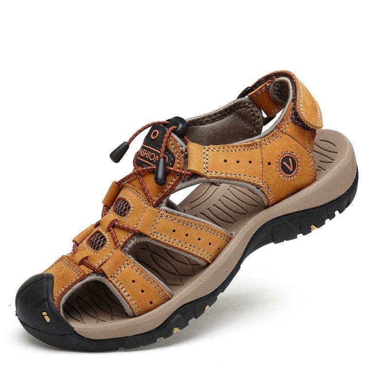 2017夏季男士真皮凉鞋透气户外休闲防滑头层牛皮沙滩鞋男包头罗马