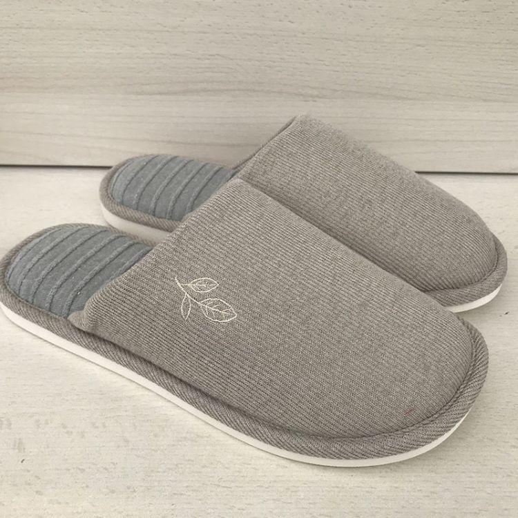 随易居秋冬新款 条纹针织布 防滑地板拖鞋 家居保暖拖鞋情侣绣花