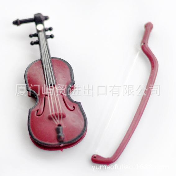 娃娃配件 玩偶 圣诞 工艺品 拍摄道具 迷你木纹仿真小提琴