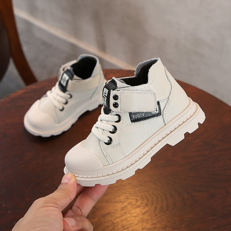 冬季新款真皮加棉高帮儿童运动鞋纯色保暖男女童休闲鞋宝宝板鞋