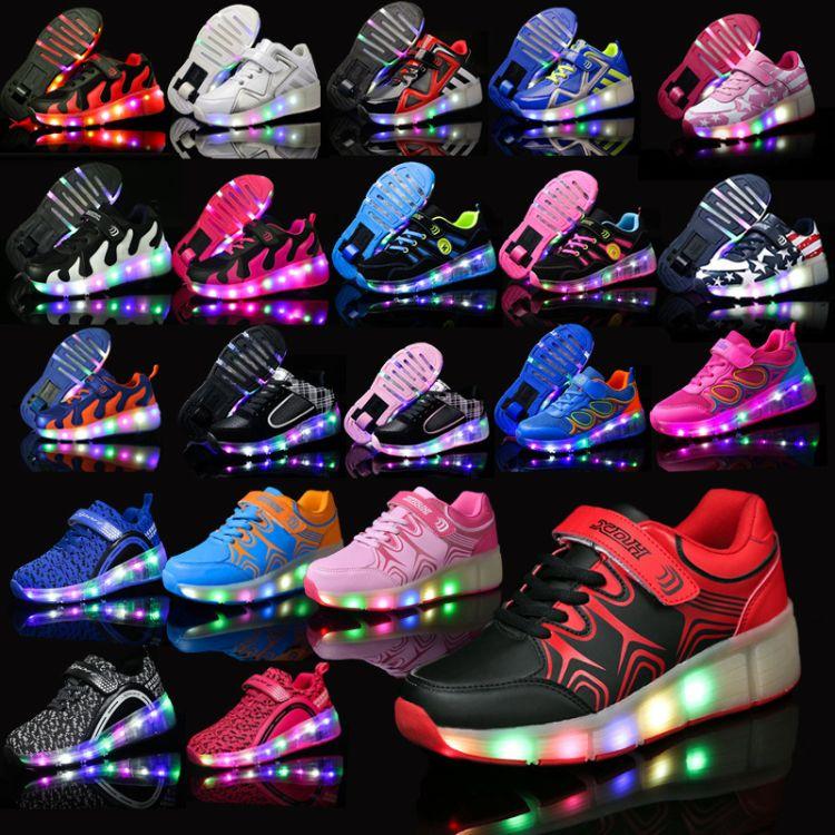 新代号led带灯单轮暴走鞋运动休闲儿童速滑发光鞋男女亲子轮滑鞋