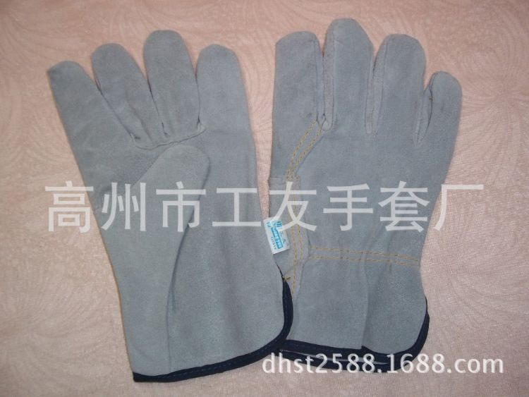 短全皮司机手套二层牛皮防滑的工作手套劳保皮手套