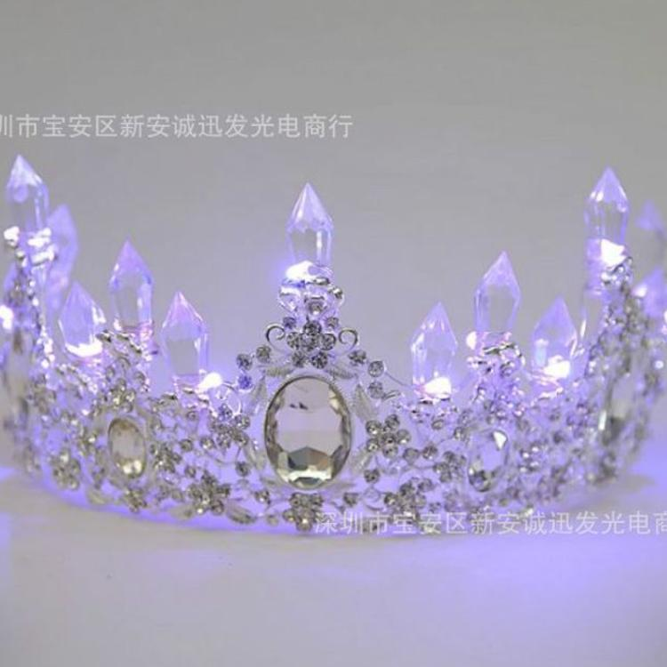 新娘头饰皇冠水晶发光头饰发箍欧式女王头饰皇冠婚纱婚礼发饰