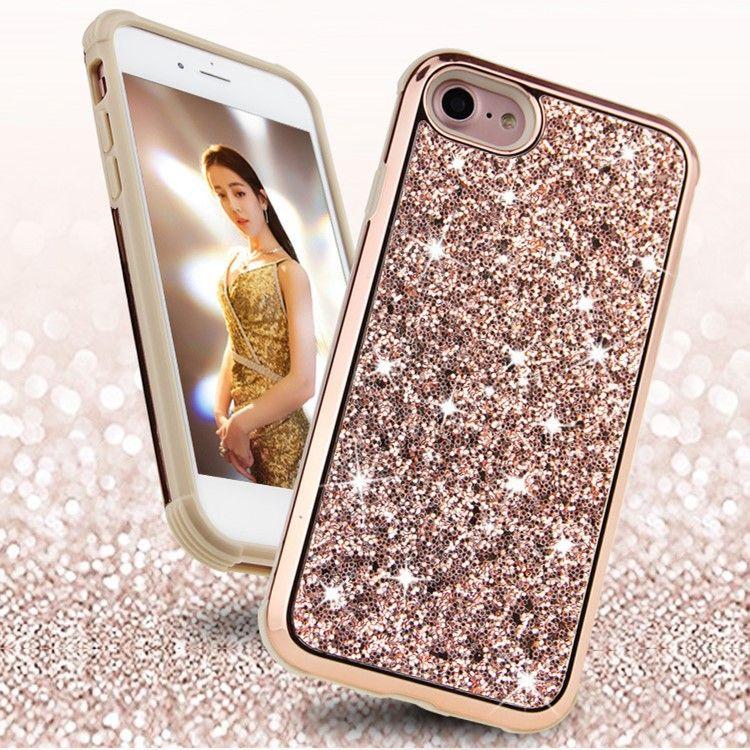 外贸爆款iPhoneX闪粉亮片手机壳三星S9镶钻tpu+pc二合一防摔壳