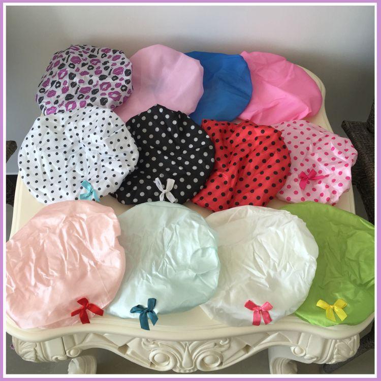 外贸原单印花 纯色 圆点 双层加厚男女士防水浴帽 毛巾布 PE浴帽
