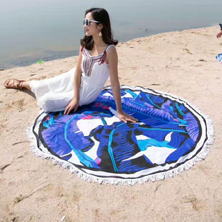 外贸沙滩巾圆形欧美时尚流苏纤维沙滩垫圆形数码印花瑜伽垫