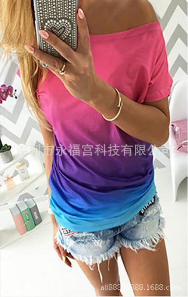 速卖通ebay爆款新品欧美时尚渐变色印花宽松T恤ST0001