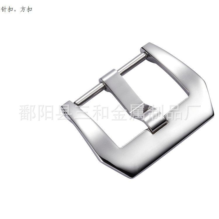 高档316L精钢方扣手表皮表带胶带针扣一级扣磨