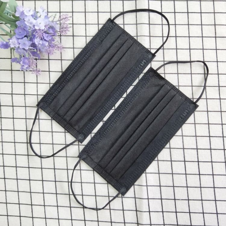 厂家批发无纺布三层平面一次性黑色口罩防尘pm2.5防花粉防异味