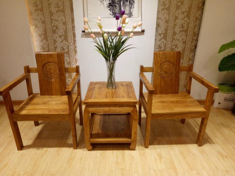 老门板咖啡桌简约现代中式家具老榆木两人田园茶桌复古阳台桌椅