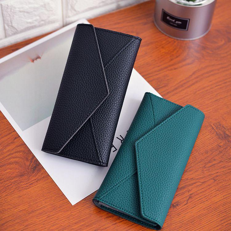 韩版新款PU长款钱包大容量复古三折钱夹大钞夹多卡位女士手拿包潮