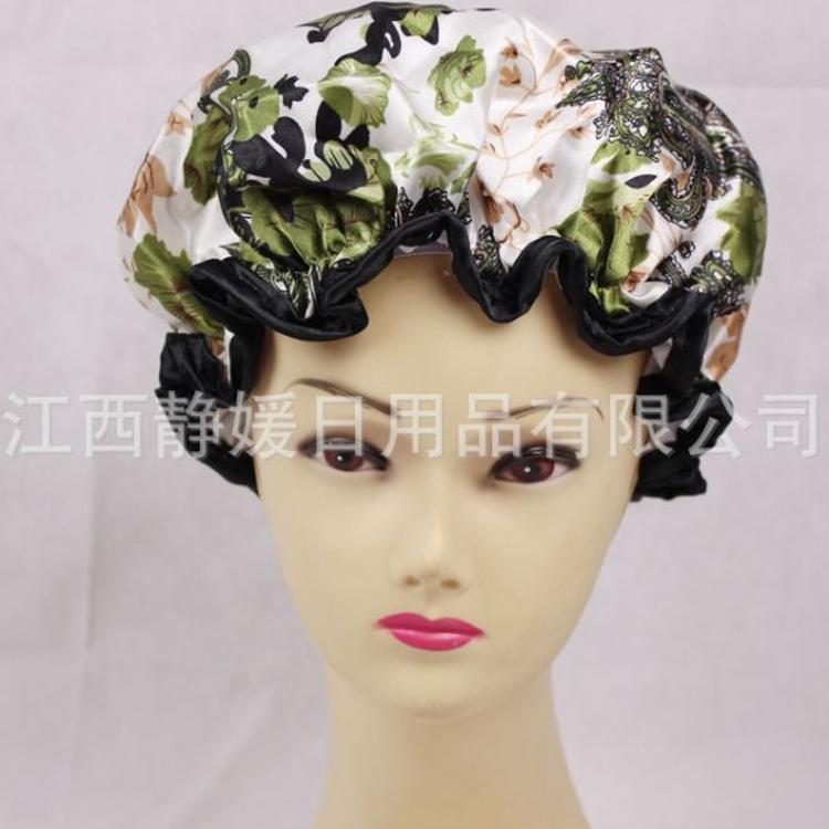 厂家直销印花色丁PEVA防水双层女士浴帽成人淋浴帽防油防尘帽