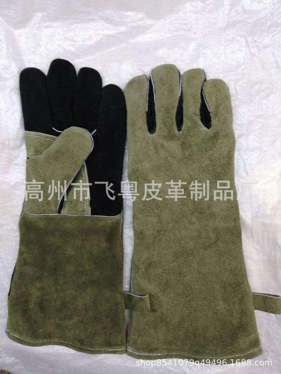 生产销售浅绿色十黑色牛二层16寸烧烤bbq手套耐磨隔热皮革劳保手