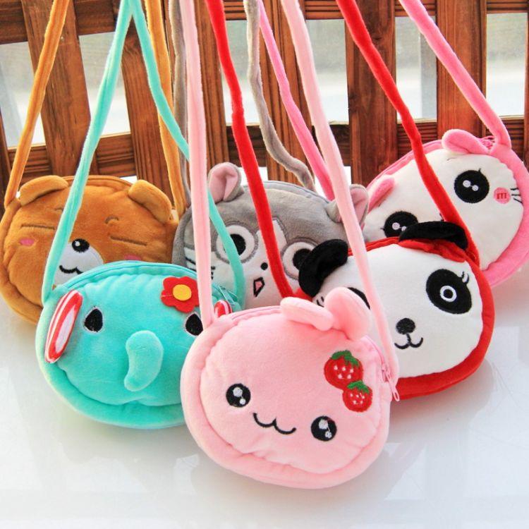 经典畅销款日韩卡通可爱兔子猫咪熊猫大象等儿童双拉零售斜挎包