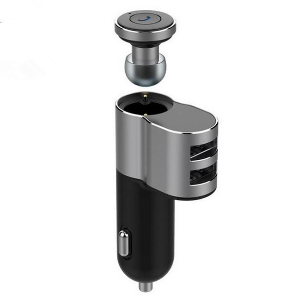 新款智能蓝牙快充双USB金属智能蓝牙耳机二合一车载充电器