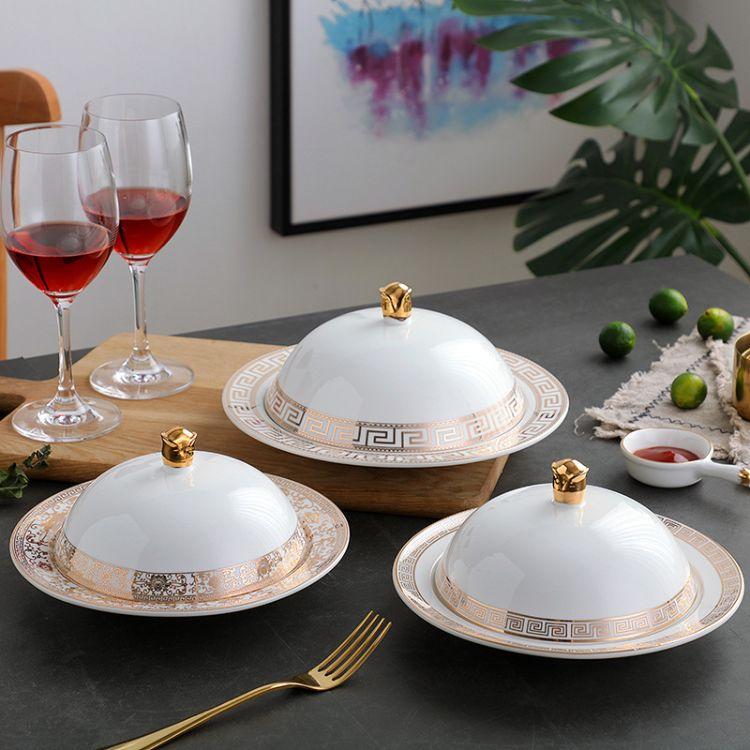 酒店用品餐具陶瓷盘子带盖翅盅鲍鱼海参饭盘西餐厅摆台日式玉兰盅