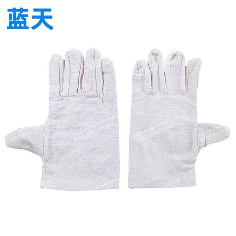 加厚双层白革加固帆布手套 耐磨耐用电焊工地粗活劳保手套批发