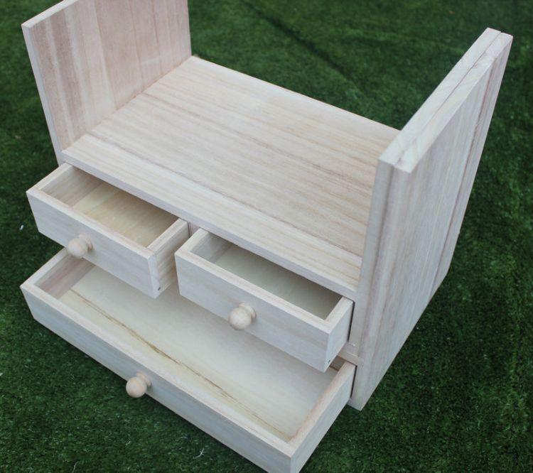 鼎林沃禾木 木制桌面收納盒定制 化妝品整理盒 木質抽屜式收納盒批發