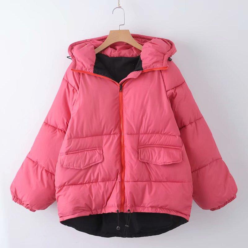 跨境速卖通9D8881  18秋冬新款条纹带饰加厚棉服夹克外套女