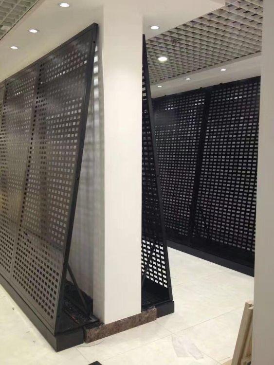 深州程宏瓷砖展架 多功能展示架 冲孔板木地板挂架 黑色哑光可拆装展架
