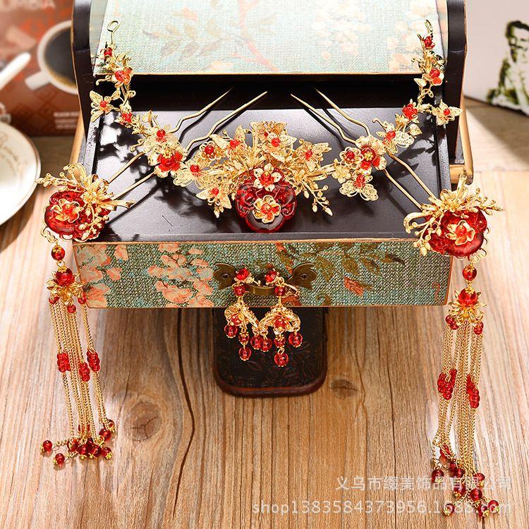 新娘饰品古装凤冠秀禾和服旗袍头饰中式民族流梳发饰发簪复古额饰