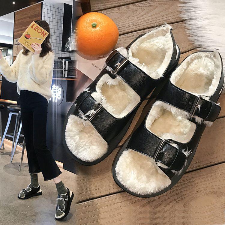 外穿毛毛凉鞋2018秋冬新款厚底松糕鞋欧美加绒双搭扣露趾休闲鞋女