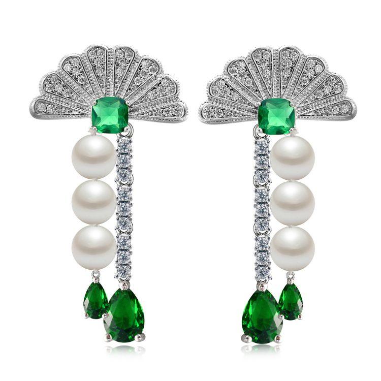 新款高档925银针时尚珍珠耳钉女 欧美时尚气质长款扇形流苏耳环