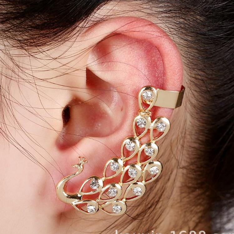 外贸耳饰义乌厂家批发欧美时尚个性镶钻孔雀气质耳夹动物耳环耳钉