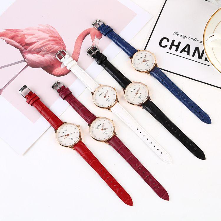 休闲时尚手表 韩式手表精制手表 皮质表带简约表盘手表 女士手表
