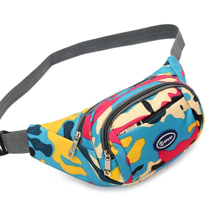 跨境新款运动迷彩腰包旅行腰包收银包牛津布防水布包多功能小包